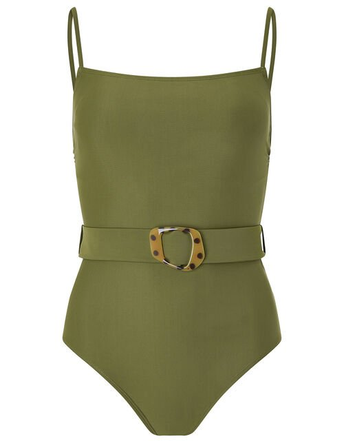 Belted Swimsuit, Green (KHAKI), large