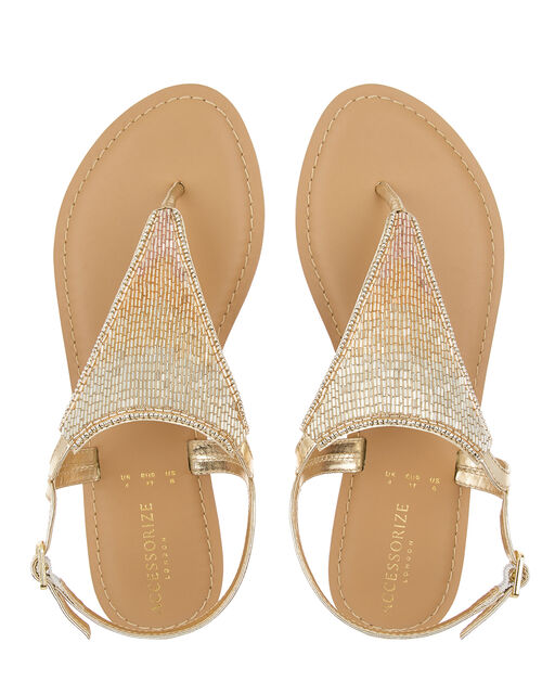 Tahiti Beaded Sandals, Gold (GOLD), large
