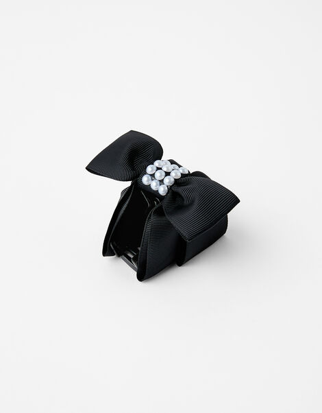 Pearly Bow Bulldog Clip Black, Black (BLACK), large