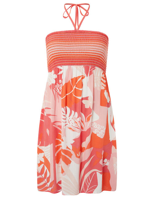 Printed Bandeau Beach Dress, Orange (CORAL), large