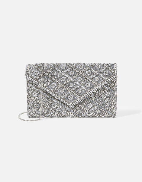 Tabitha Embellished Clutch Bag Silver, Silver (SILVER), large