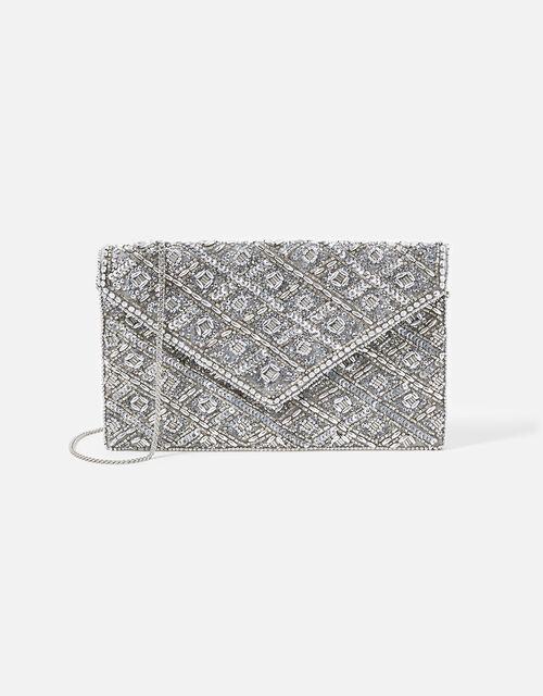 Tabitha Embellished Clutch Bag, Silver (SILVER), large