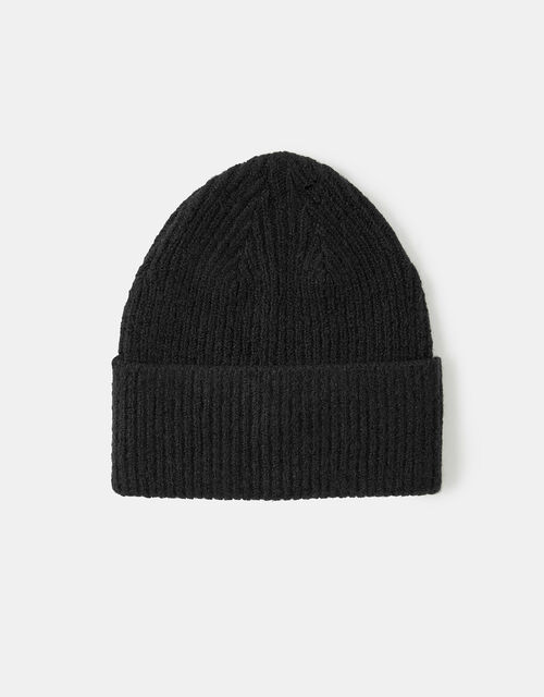 Knit Beanie Hat, Black (BLACK), large