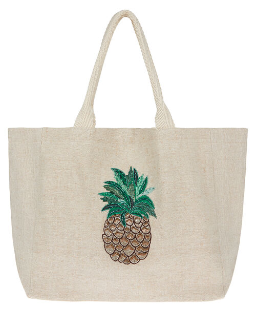 Embellished Pineapple Woven Tote Bag, , large