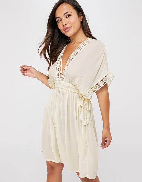 Lace Trim Crinkle Kaftan Cream, Cream (CREAM), large