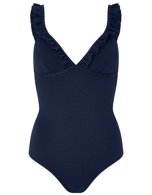 Textured Shaping Swimsuit with Ruffles, Blue (NAVY), large