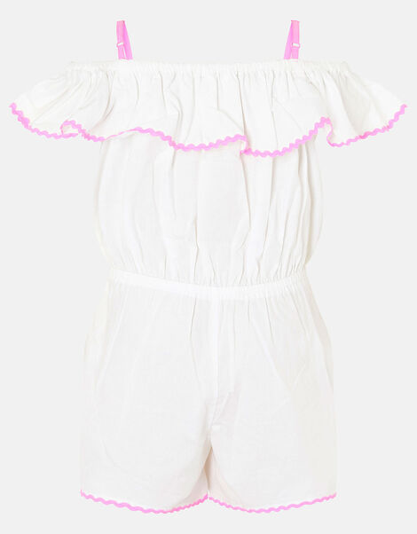 Rainbow Playsuit in Pure Cotton White, White (WHITE), large