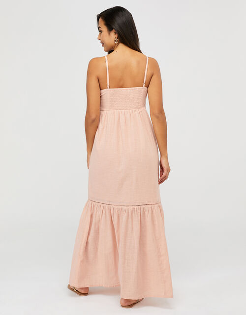 Knot Front Cotton Maxi Dress, Pink (PINK), large