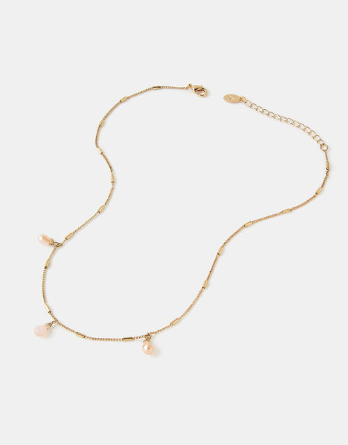 Faceted Bead Station Necklace, , large
