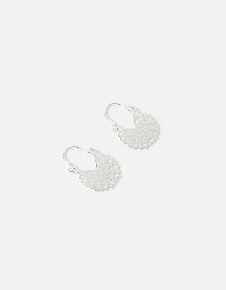 Sterling Silver Twist Hoop Earrings, , large