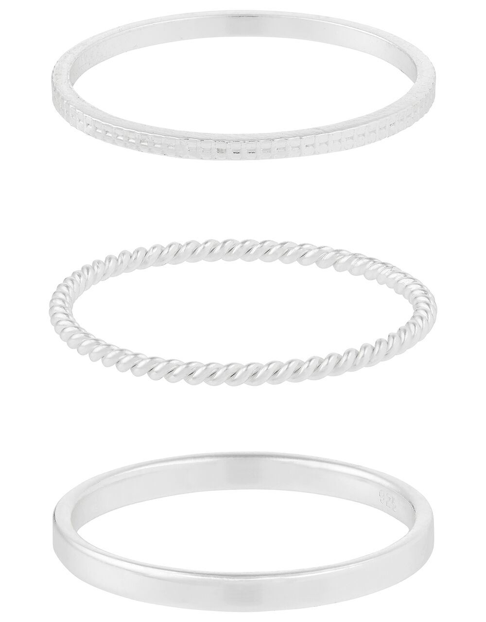 Sterling Silver Slim Stacking Ring Set, Silver (ST SILVER), large