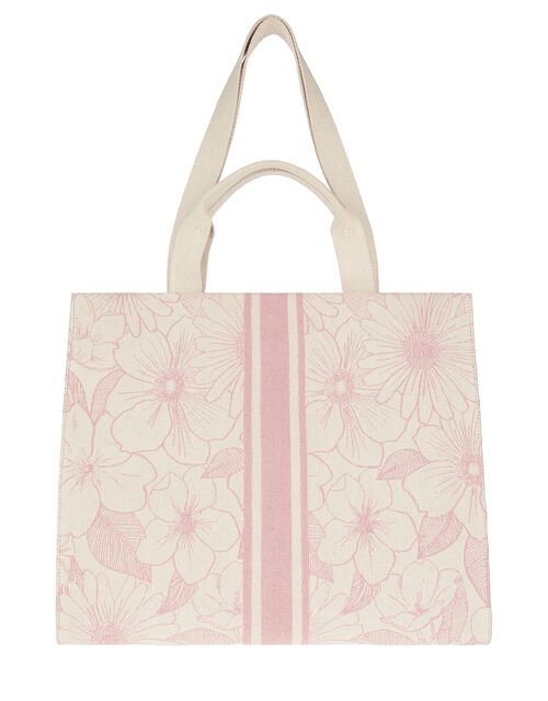 Hailey Pattern Structured Tote Bag, Pink (PINK), large