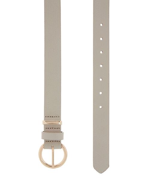 Round Buckle Leather Belt, Cream (CREAM), large
