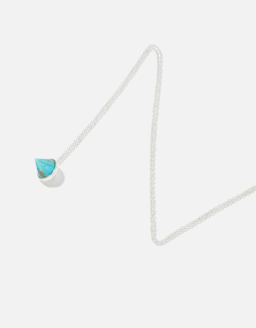 Sterling Silver Healing Stone Turquoise Pendant Necklace, , large