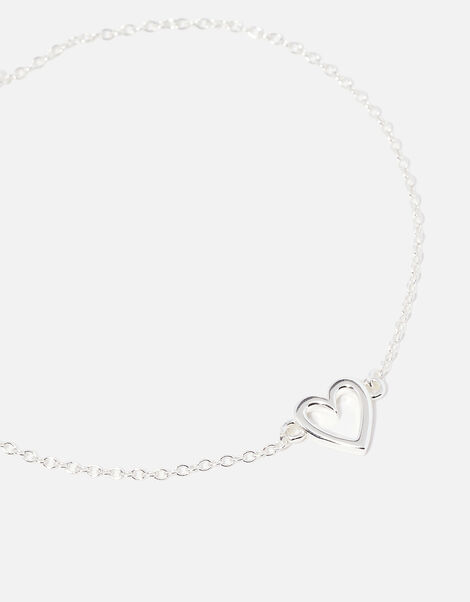 Sterling Silver Cut Out Heart Bracelet, , large