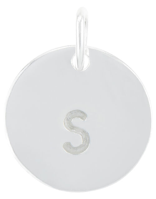 Sterling Silver S Initial Charm, , large