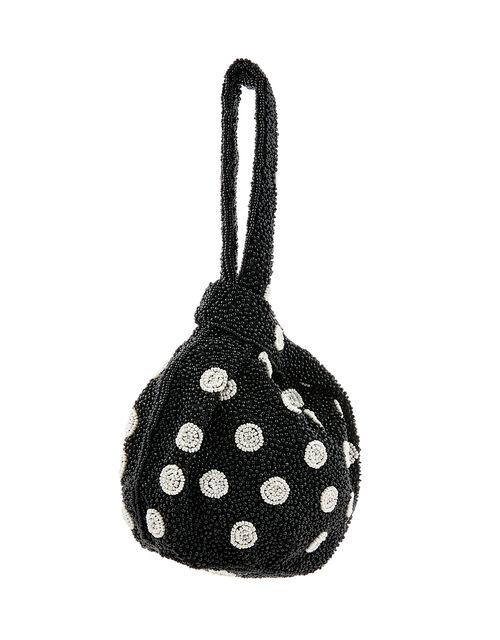 Polka Dot Beaded Duffle Bag, Black (BLACK/WHITE), large