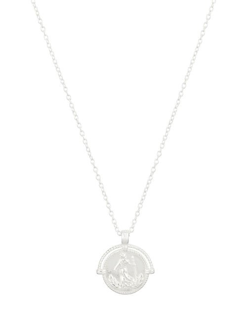 Sterling Silver Roman Coin Pendant Necklace, , large