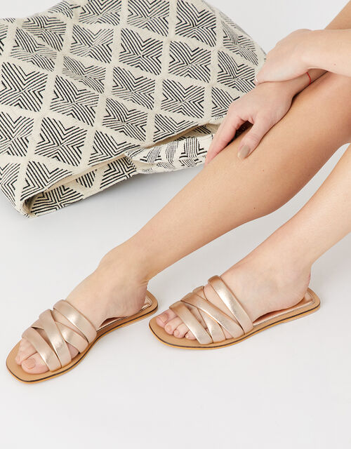 Sophie Strappy Leather Sliders, Gold (GOLD), large