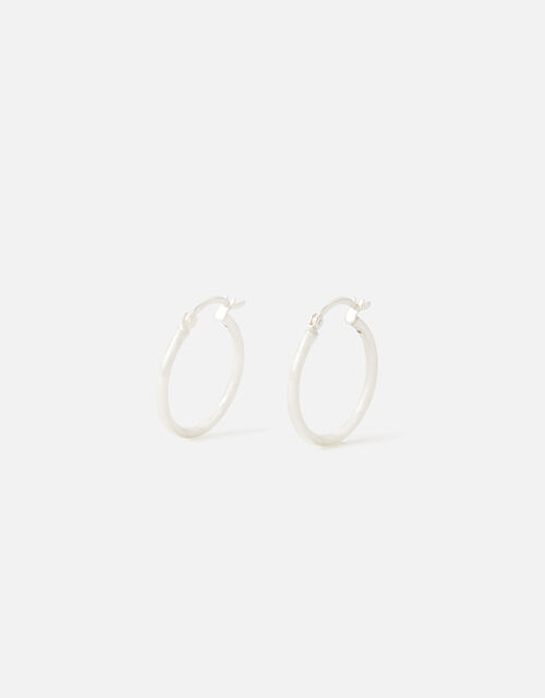 Sterling Silver Chunky Hoop Earrings, , large