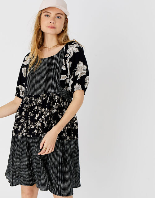 Check and Floral Puff Sleeve Dress, Black (BLACK), large