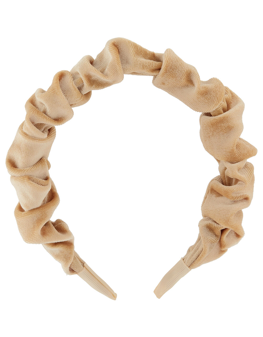 Ruched Velvet Headband, Cream (CREAM), large