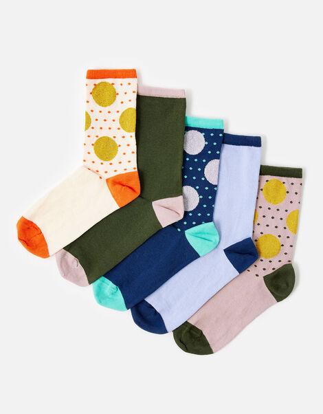 Spot Print Sock Multipack Multi, Multi (BRIGHTS-MULTI), large