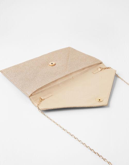 Lily Glitter Envelope Clutch Bag, Gold (GOLD), large