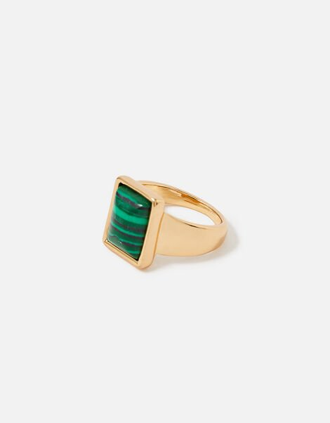 Reconnected Rectangle Stone Ring Green, Green (GREEN), large