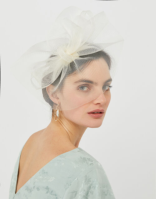 Mia Oversized Bow Fascinator, Natural (IVORY), large