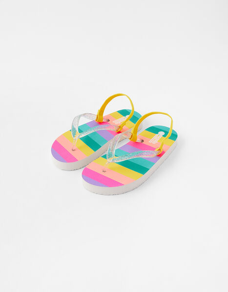 Girls Rainbow Stripe Flip Flops Multi, Multi (BRIGHTS-MULTI), large