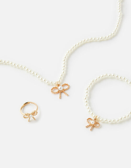 Bow and Pearl Jewellery Set , , large