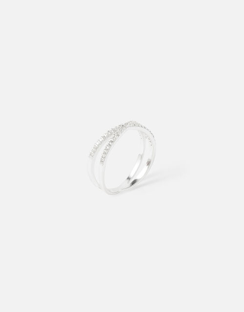 Sterling Silver Sparkle Criss-Cross Ring, White (ST CRYSTAL), large