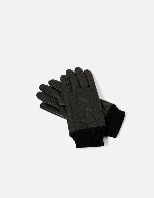 Heart Embossed Leather Gloves, Black (BLACK), large