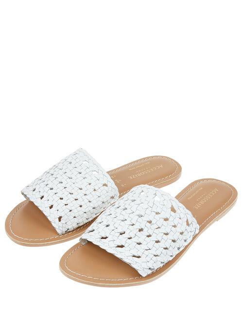 Woven Sliders, White (WHITE), large