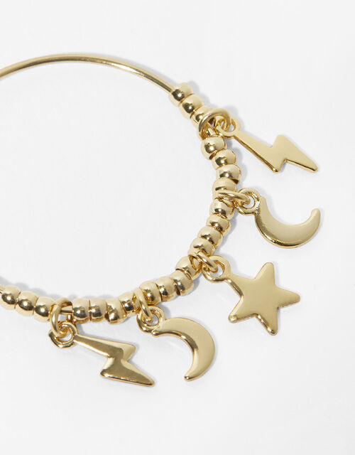 Gold-Plated Starry Charm Hoops, , large