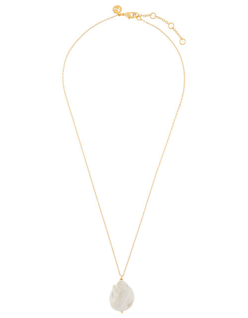 Gold-Plated Large Irregular Pearl Necklace , , large