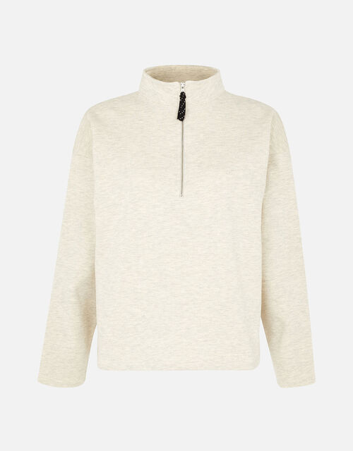 1/4 Zip Sweater, Cream (TAUPE), large