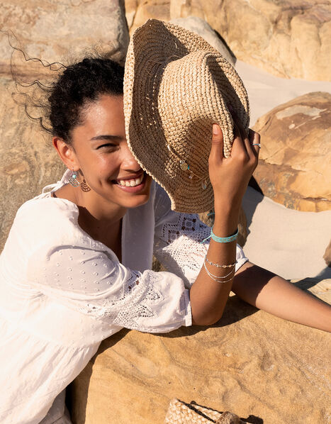 Straw Sun Hat with Shell Trim Natural, Natural (NATURAL), large