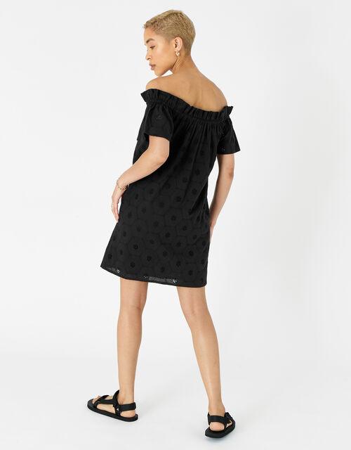 Schiffli Bardot Dress in Organic Cotton, Black (BLACK), large