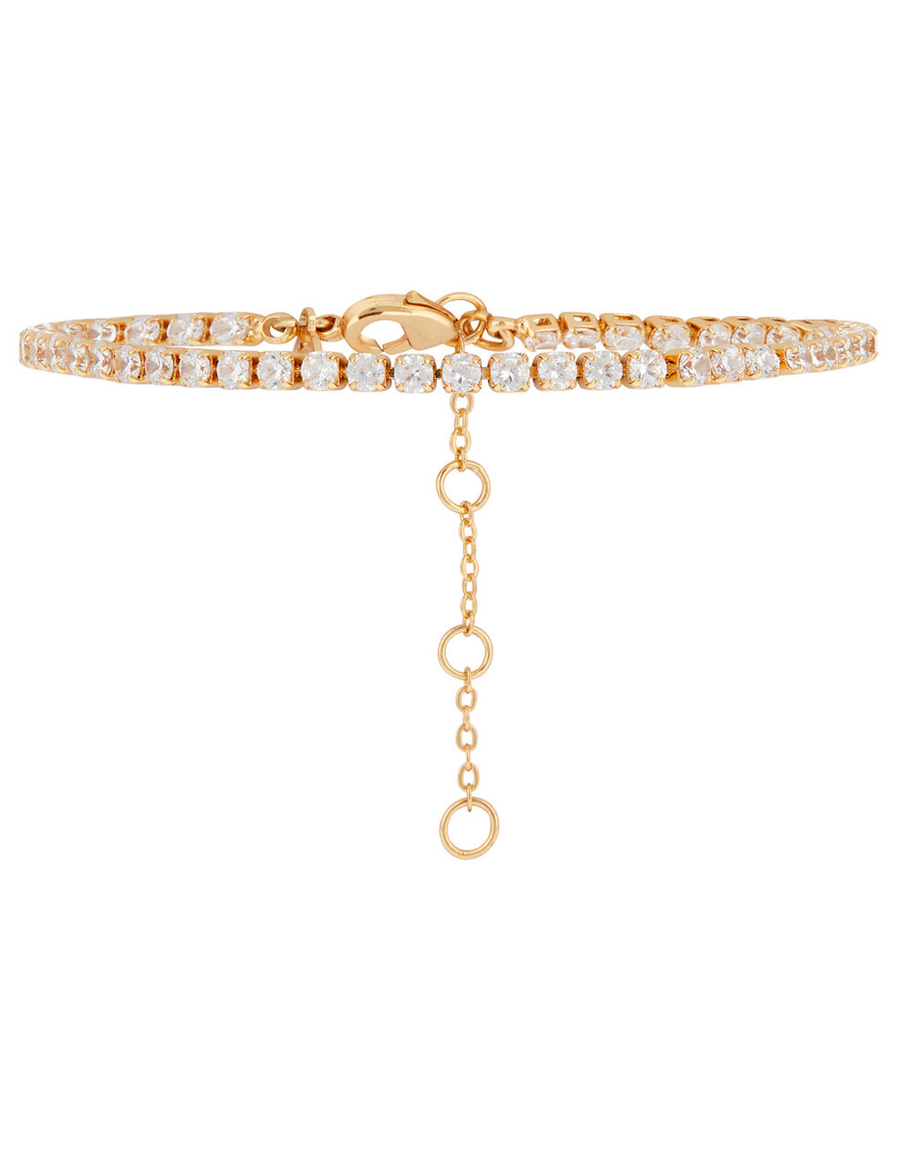 Gold-Plated Crystal Tennis Bracelet, , large
