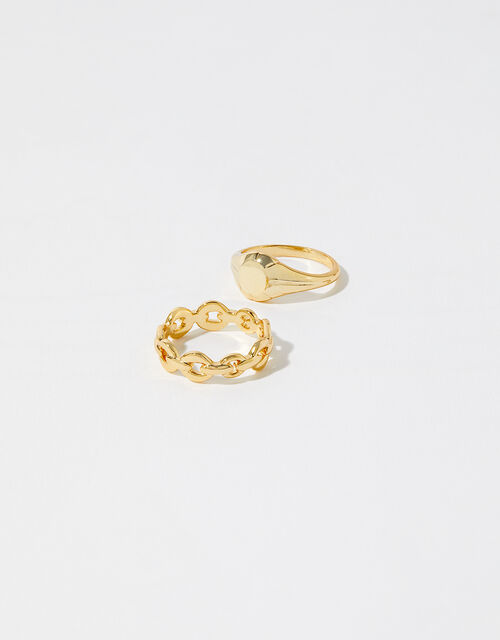 Gold-Plated Signet and Chain Ring Set, Gold (GOLD), large