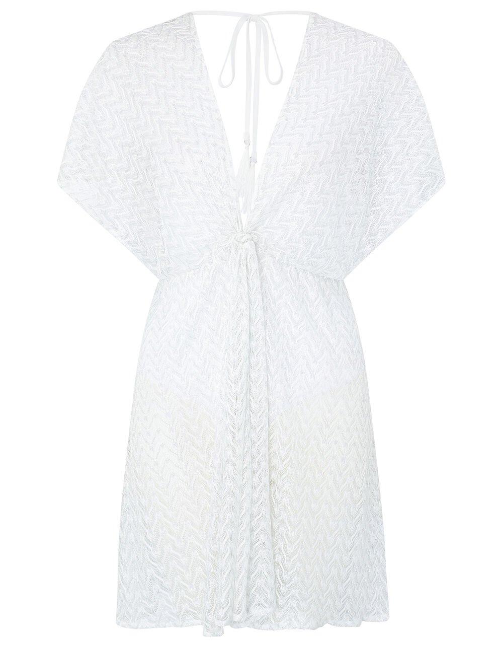 Sheer Shimmer Lace Kaftan, White (WHITE), large
