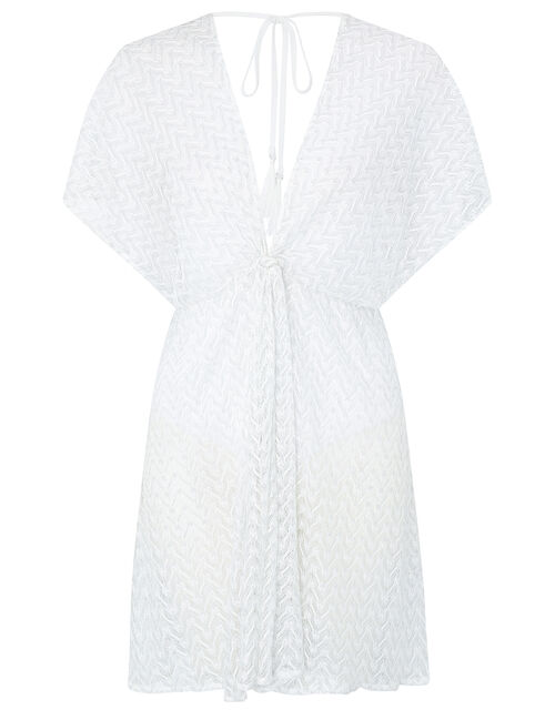 Sheer Shimmer Lace Kaftan, White (WHITE), large