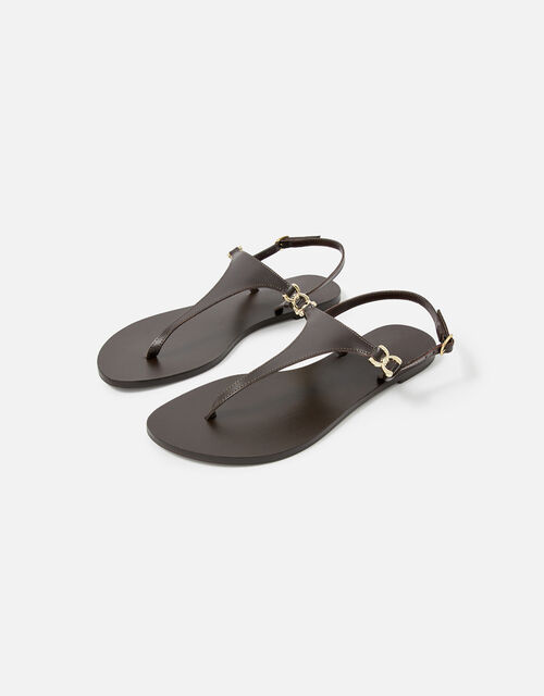 Luxe Leather Charm Sandals , Brown (CHOCOLATE), large