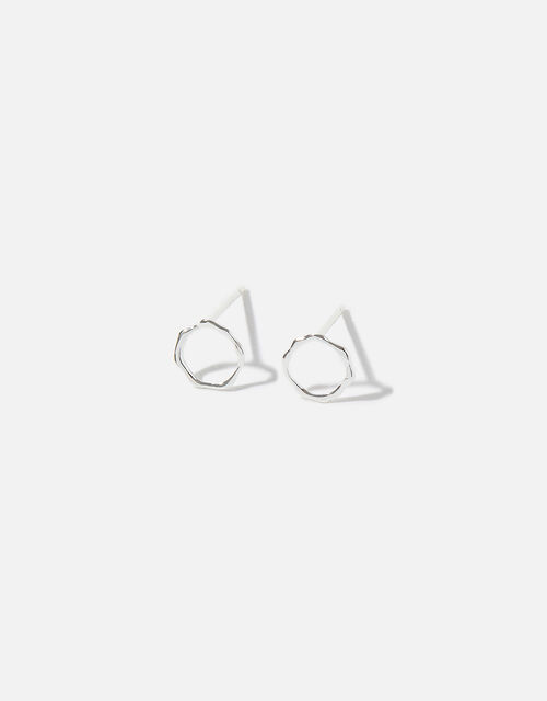 Sterling Silver Molten Open Circle Studs, , large