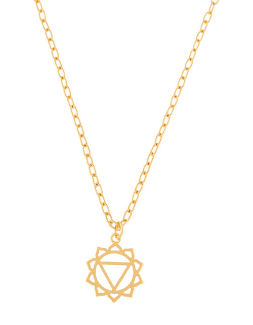 Gold-Plated Throat Chakra Pendant Necklace, , large