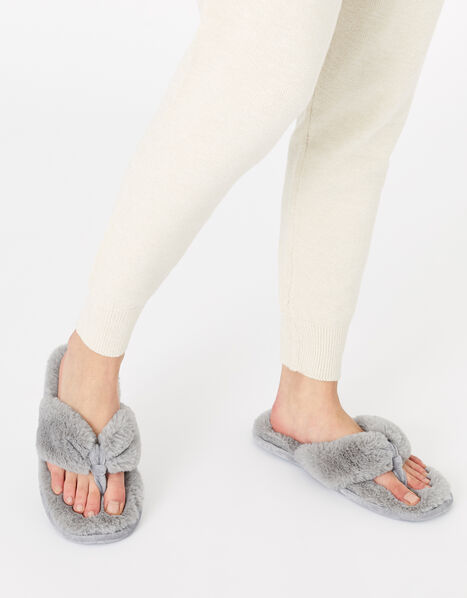 Laura Fluffy Thong Slippers Grey, Grey (GREY), large