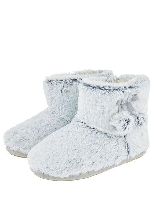 Fluffy Pom-Pom Slipper Boots, Grey (GREY), large