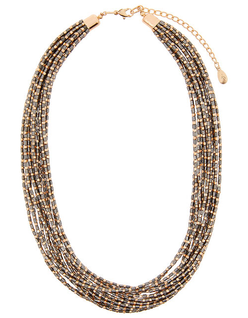 Layered Beaded Collar Necklace, , large